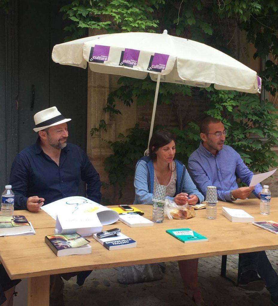 Martín Solares, Omar Benlaala et Emmanuelle Pagano lors des petits-déjeuners littéraires du Marathon des mots 2017